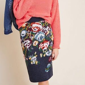 NWT Anthropologie Skye Embroidered Pencil Skirt